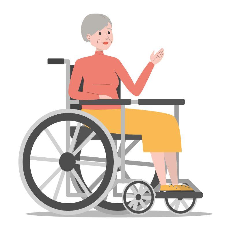 Illustration einer älteren Frau in einem Rollstuhl