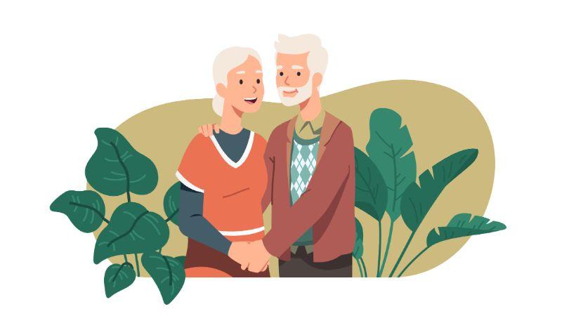 Vektorgrafik von einem älteren Paar das sich an den Händen hält