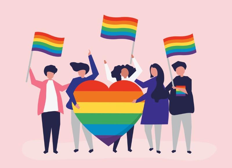 Illustration einer Gruppe von Menschen mit Pride-Fahnen und Regenbogenherz