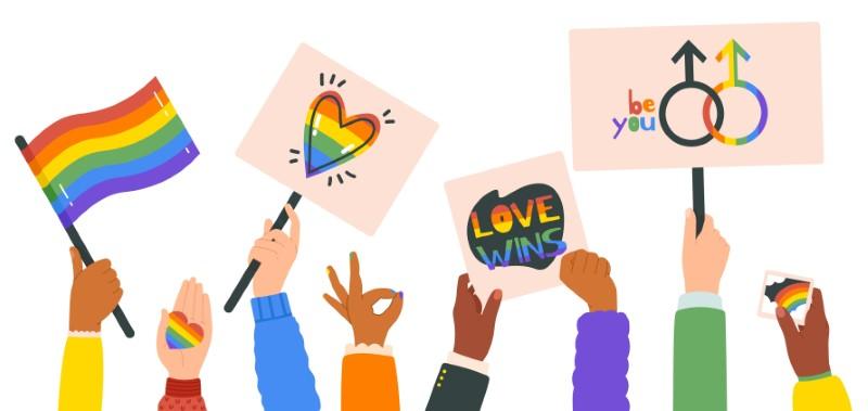 Vektorgrafik von Händen, die LGBTQ-Pride-Zeichen hochhalten