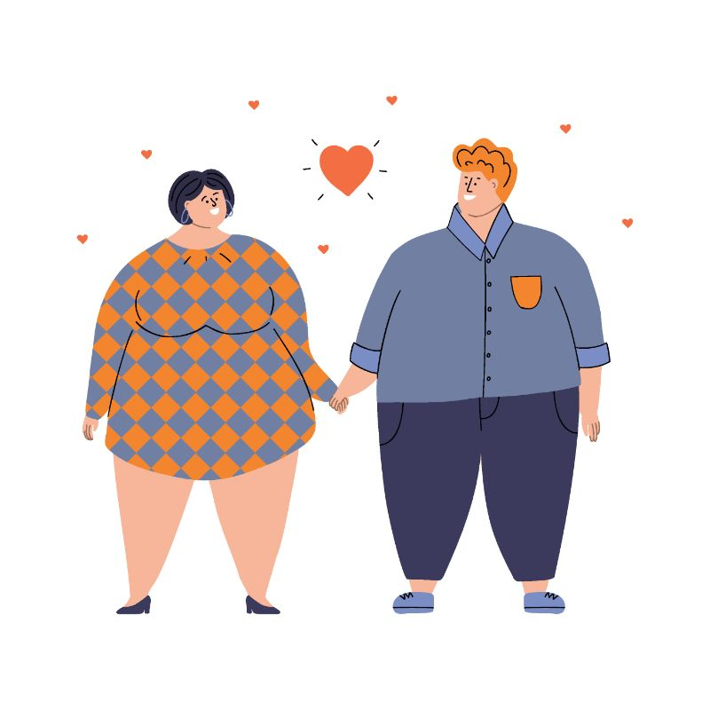 Illustration einer dickeren Frau und eines dickeren Mannes, die sich an den Händen halten und ineinander verliebt sind
