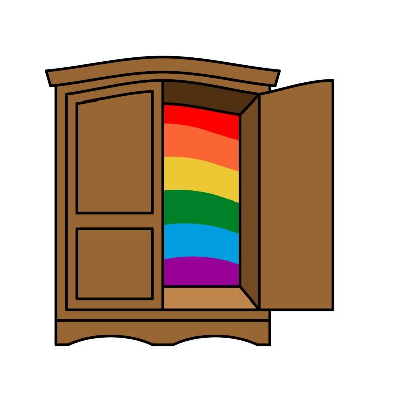 Vektorgrafik eines Kleiderschranks in Regenbogenfarben