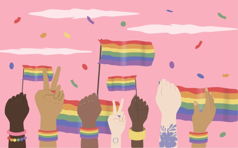 Vektorgrafik von mehreren Händen, die Pride-Fahnen in die Luft halten und Konfetti herum werfen
