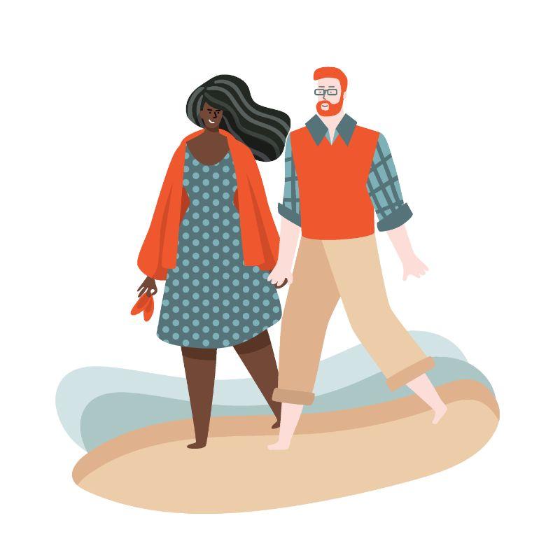 Illustration eines gemischtrassigen Paares bei einem Spaziergang