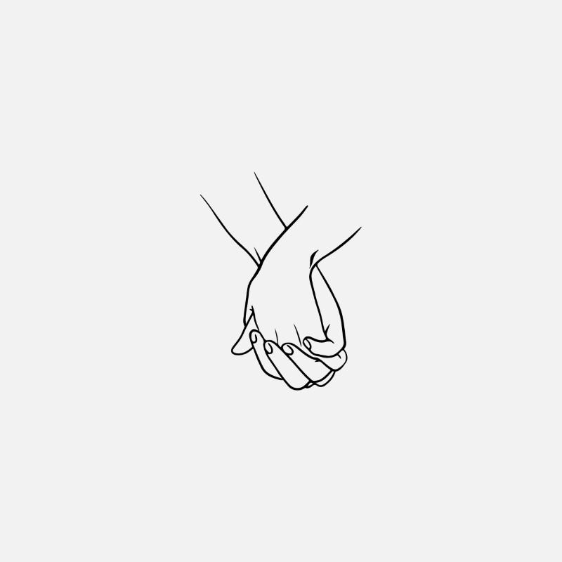Strichkunst von zwei Händen beim Händchenhalten